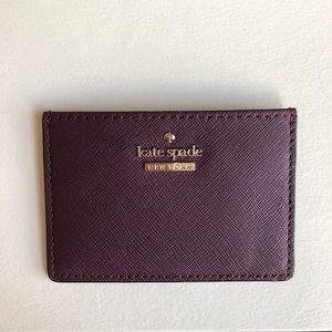 Kate Spade Deep Plum Card Holder Brand New
